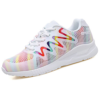 Women's Athletic Shoes Comfort Spring Fall PU Walking Shoes Casual Lace-up Flat Heel White Black 2in-2 3/4in