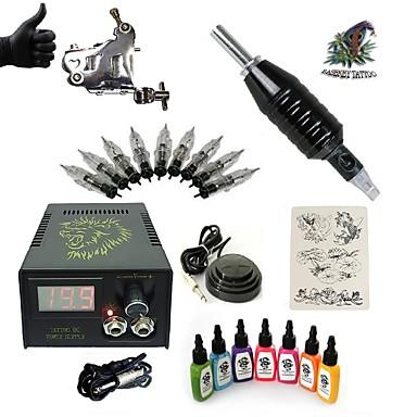 Tattoo Machine Startkit 1 x stål tatoveringsmaskin til lining og skyggelegging LCD strømforsyning 1 x Aluminiumsgrep 5pcs stk tattoo Nåler