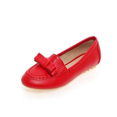 Mulheres Sapatos Couro Ecológico Primavera / Outono Conforto / Inovador Rasos Caminhada Sem Salto Ponta Redonda Laço Branco / Preto /