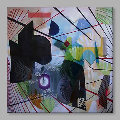 Pintados à mão Abstrato Quadrada, Abstracto Tela de pintura Pintura a Óleo Decoração para casa 1 Painel