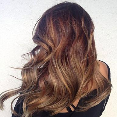 Kvinder Blondeparykker med menneskehår Ekte hår Helblonde Helblonder uten lim 130% tetthet Krop Bølge Parykk Mørk blond Kort Medium Lang