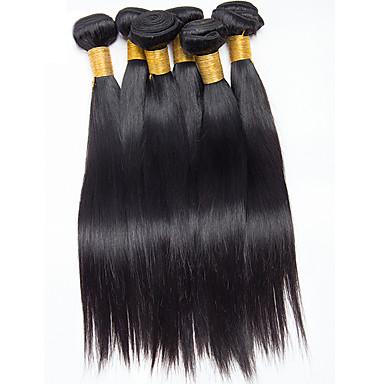 Brasiliansk hår Rett Hårvever med menneskehår 6 deler 0.3
