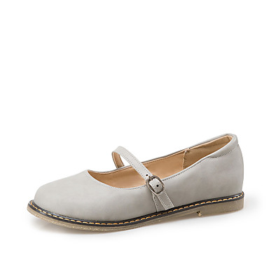 Mulheres Sapatos Courino Primavera Verão Solados com Luzes Rasos Sem Salto Ponta Redonda Presilha para Escritório e Carreira Cinzento