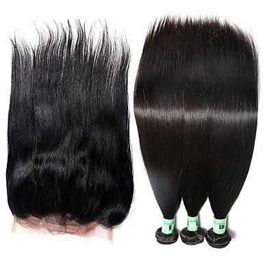 Cabelo Brasileiro Liso Tramas de cabelo humano 4pçs Macio Trama do cabelo com Encerramento Diário