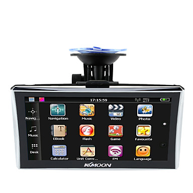 KKmoon 7 HD Touch Screen Portable GPS Navigator 128MB RAM 4GB ROM FM MP3 Video Play Car Entertainment System with Back Support Free Map
