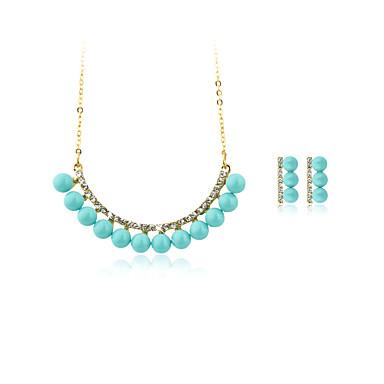 Mulheres Cristal, Imitação de Pérola Conjunto de jóias Colares com Pendentes - Prata Chapeada, Chapeado Dourado Cinzento, Amarelo, Azul
