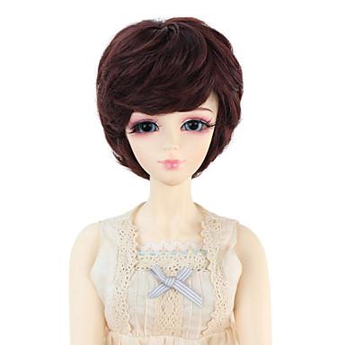 Naisten Synteettiset peruukit Laineikas Tumma kastanja Doll Wig puku Peruukit