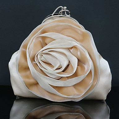 Women Bags Silk Clutch Floral for Wedding Event/Party Casual Formal Outdoor All Seasons Silver Red Apricot Wine Violet