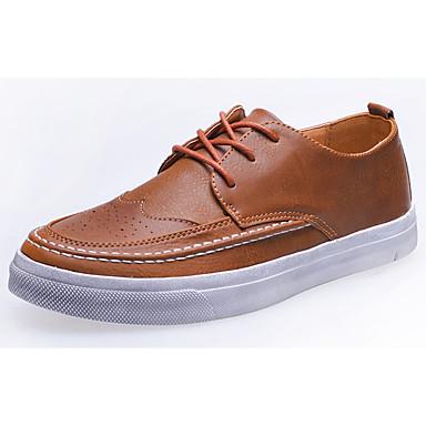 Homens sapatos Couro Ecológico Primavera Outono Conforto Tênis para Ao ar livre Preto Cinzento Castanho Escuro