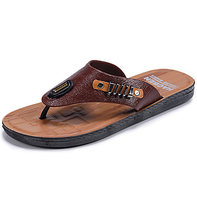 Men's Shoes Leather Summer Fall Comfort Light Soles Slippers & Flip-Flops Walking Shoes Split Joint For Casual Outdoor Light Brown Dark