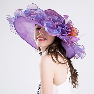 fjær silke organza fascinators hatter headpiece klassisk feminin stil
