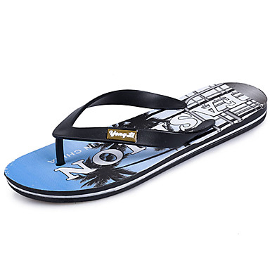 Men's Shoes PU Spring Summer Comfort Slippers & Flip-Flops for Casual Green Blue