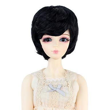 Cabelo Sintético perucas Reto boneca peruca Preto jet