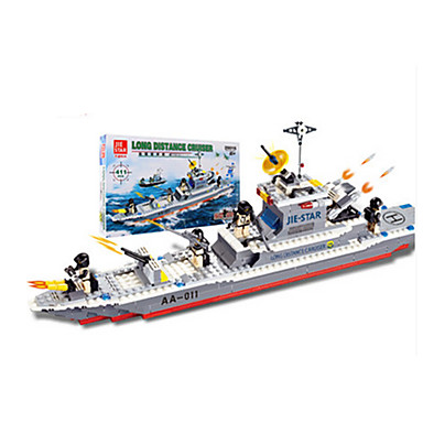 JIE STAR Blocos de Construir Brinquedos de Montar Quadrada Pato Barco de Guerra Para Meninos Unisexo Dom