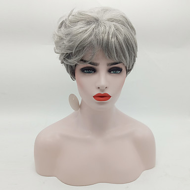 New Wavy Short Women Wig Synthetic Hair Wig Grey with Dark Roots Ombre hair Wig