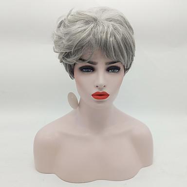 Szintetikus parókák Hullámos Természetes hajszálvonal Sűrűség Sapka nélküli Női Természetes paróka Rövid Szintetikus haj