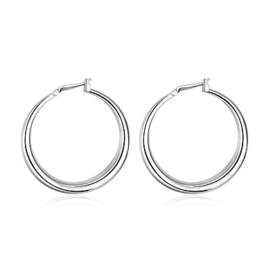 Women's Hoop Earrings - Silver Plated Euramerican Silver For Daily