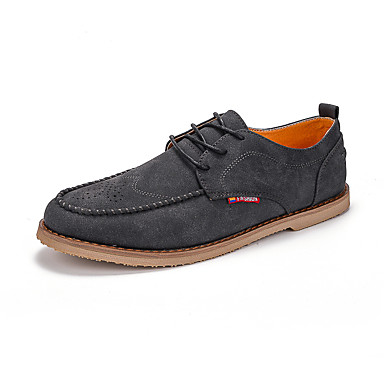 Men's Shoes PU Spring Fall Comfort Oxfords Lace-up for Casual Outdoor Office & Career Gray Brown