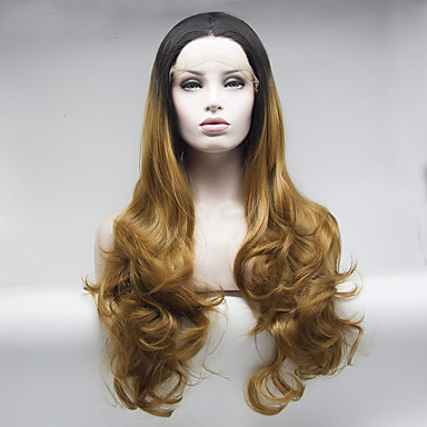 Syntetisk blonder foran parykker Krop Bølge Brun Dame Blonde Forside Naturlig parykk Medium Lang Syntetisk hår