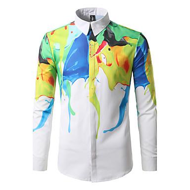 Homens Camisa Social Boho Estampado, Geométrica Algodão Colarinho Clássico