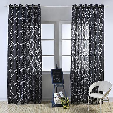Anéis Tratamento janela Pastoril, Gravado Floral Quarto Material Sheer Curtains Shades Decoração para casa