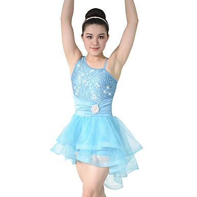 Ballet Shoes Dresses Women's Performance Tulle / Sequined / Lycra Tier / Ruffles / Ruched Sleeveless Natural Dress / Headwear / Modern Dance / Ballroom