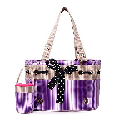 Cat Dog Carrier & Travel Backpack Pet Carrier Portable Foldable Breathable Stripe Purple Pink