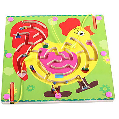 Chess Game Maze Magnetic Maze Toy Flat Shape Chicken Magnetic Wood Iron Kid's Gift 1pcs