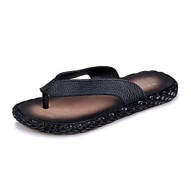 Men's Shoes Leather Summer Fall Comfort Light Soles Slippers & Flip-Flops Walking Shoes Side-Draped For Casual Outdoor Black Brown