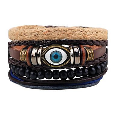 Men's Strand Bracelet Wrap Bracelet Leather Bracelet - Leather Evil Eye Personalized, Punk Bracelet Black For Gift Daily Casual