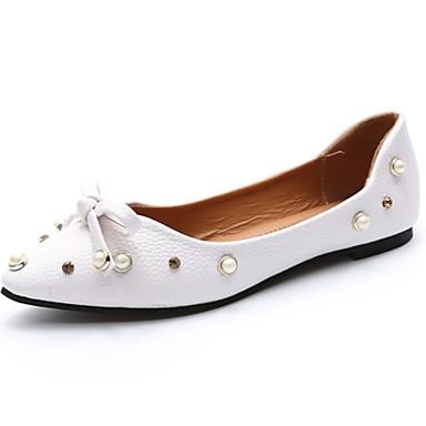 Női Cipő PU Nyár Kényelmes Lapos Lapos Erősített lábujj Csokor mert Ruha Fehér Barna Mandula
