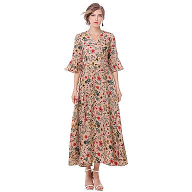 Damen Ausgehen Retro Niedlich Street Schick Aufflackern-Hülsen- A-Linie Hülle Kleid Blumen Midi V-Ausschnitt
