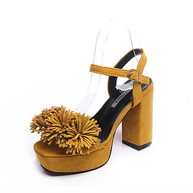 Cuadrado Sandalias Borla abierta Mujer Verano Pump Negro Rosa Hebilla Básico Puntera 06106159 Zapatos PU Primavera Amarillo Tacón YqwSB8
