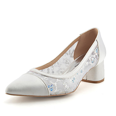Women's Shoes Lace / Sparkling Glitter / Paillette Summer / Fall Basic Pump Wedding Shoes Chunky Heel Pointed Toe White / Royal Blue