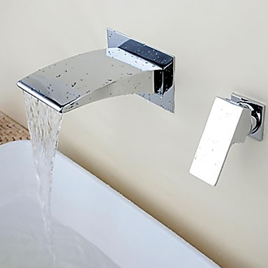 Contemporary Widespread Waterfall Wall Mount Ceramic Valve Single Handle Two Holes Chrome, Bathroom Sink Faucet