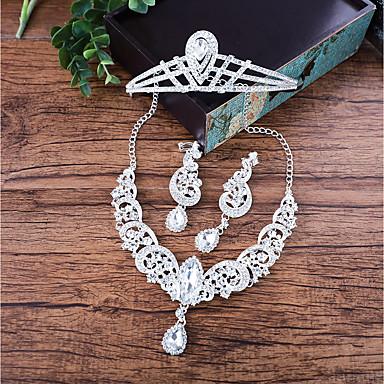 Női Strassz Luxus Ékszer szett - Luxus Crown Shape Ezüst Elöl is és hátul is stílusos fülbevalók / Nyaklánc Kompatibilitás Esküvő
