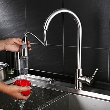 Kitchen faucet - Contemporary Modern Style Nickel Brushed Centerset
