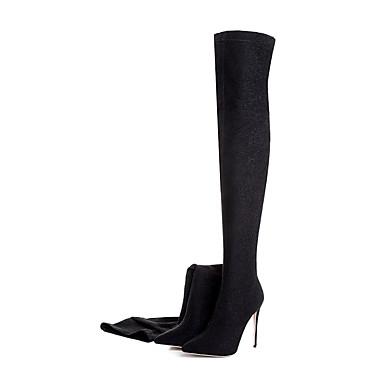 Damen Schuhe maßgeschneiderte Werkstoffe Stoff Herbst Winter Modische Stiefel Stiefel Spitze Zehe Für Normal Silber Purpur Rot Grün Blau