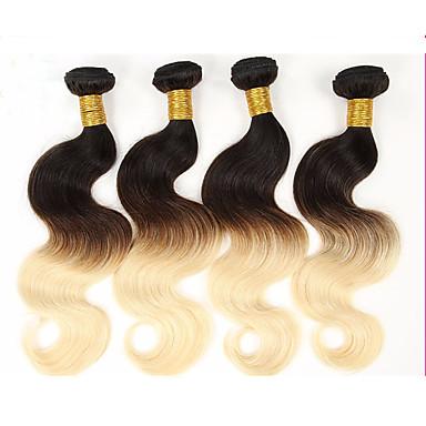 Brazil haj Hullámos haj / Mély hullám Ombre 4 csomópont Emberi haj sző Fekete / Strawberry Blonde