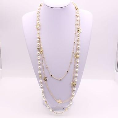 Női Szintetikus gyémánt Gyöngyutánzat Rakott nyakláncok  -  Klasszikus Divat Geometric Shape Arany Nyakláncok Kompatibilitás Parti