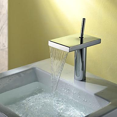 Bathroom Sink Faucet - Waterfall Chrome Centerset Single Handle One Hole