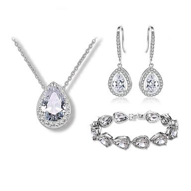Women's Cubic Zirconia Jewelry Set - Drop Luxury, Fashion Include Drop Earrings / Necklace / Bracelet Silver For Wedding