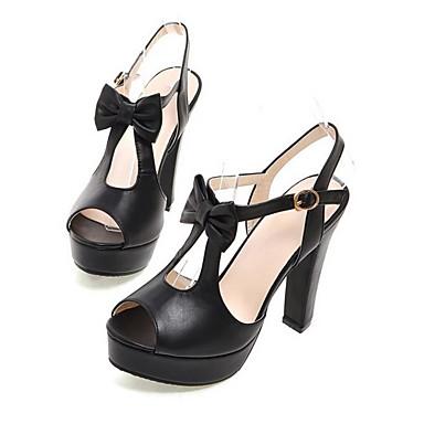 Damen Schuhe PU Sommer Komfort High Heels Für Normal Weiß Schwarz Blau Leicht Rosa