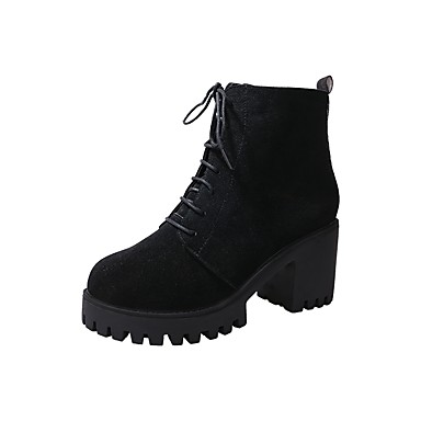 Damen Schuhe Wildleder Winter Herbst Springerstiefel High Heels Walking Blockabsatz Spitze Zehe Schnürsenkel für Kleid Party & Festivität