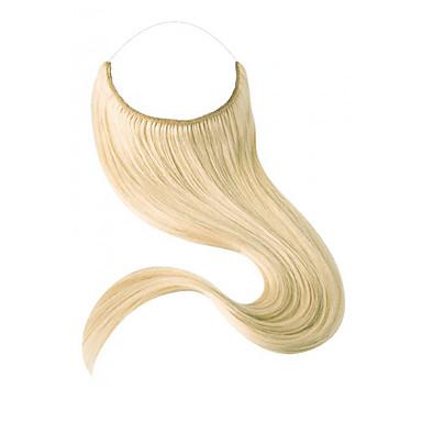 Flip In Human Hair Extensions Egyenes Emberi haj tincsek Emberi haj Haló hajhosszabbítás Női - Blonde Platinaszőke sötét Wine