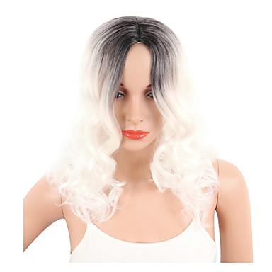 Damen Synthetische Perücken Kappenlos Kurz Lockig Wellig Weiß Bob-Frisur mit Mittelscheitel Gefärbte Haarspitzen (Ombré Hair)