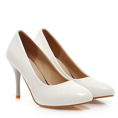 Damen Schuhe PU Frühling Sommer Komfort High Heels Stöckelabsatz Für Normal Weiß Schwarz Purpur Mandelfarben