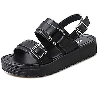 Damen Schuhe PU Sommer Komfort Sandalen Walking Niedriger Heel Offene Spitze Schleife für Normal Weiß Schwarz