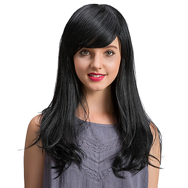 Human Hair Capless Wigs Human Hair Straight / Classic Machine Made Wig Daily