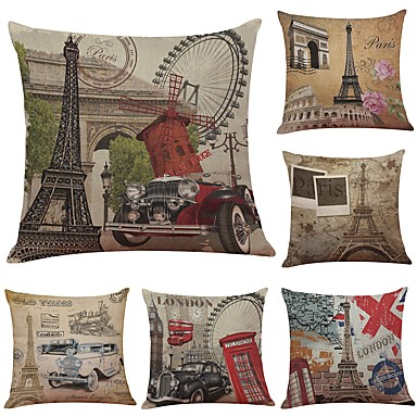 6 pcs Linen / Cotton / Linen Pillow Cover / Pillow Case, Textured Traditional / Classic / Bolster / Beach Style